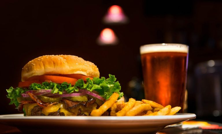 Cheeseburger served with fries and beer in Sacramento