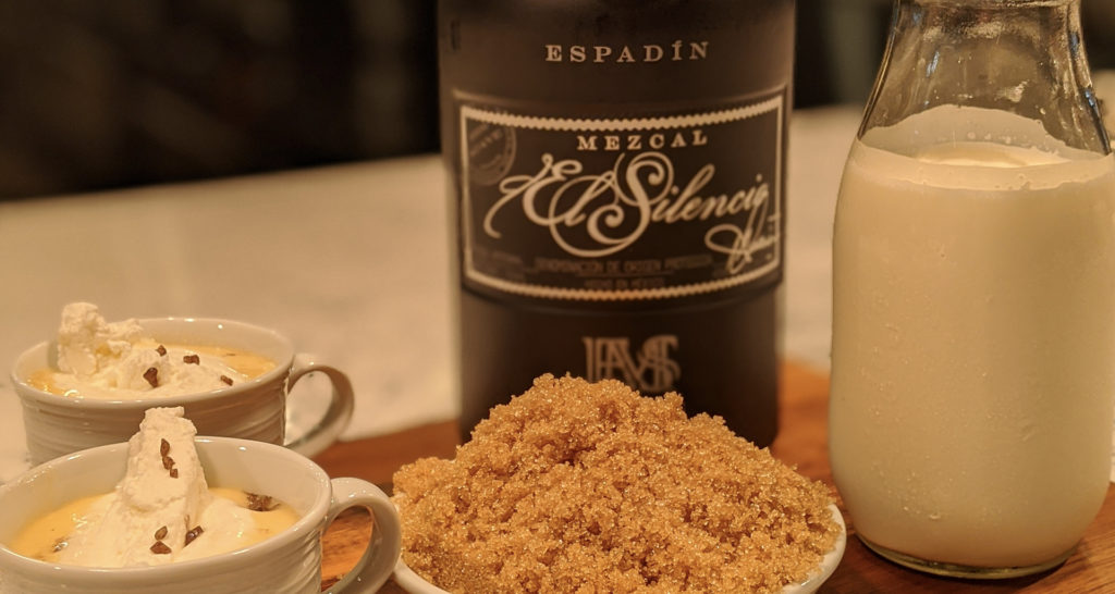 Salted sipping caramel with mezcal, holiday cocktail