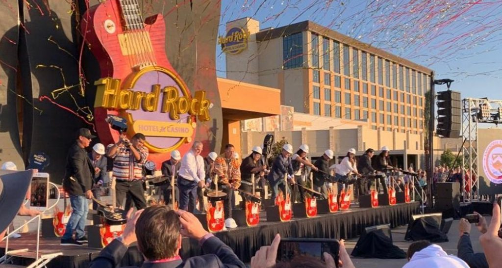 Guitar smash at the grand opening of Hard Rock Hotel & Casino Sacramento at Fire Mountain