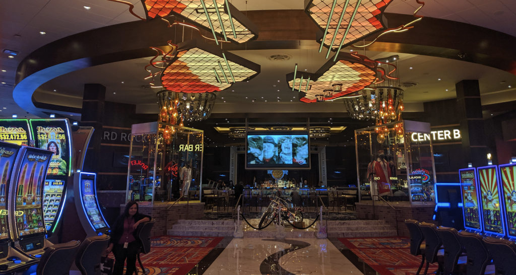 Casino floor and decorated ceiling at Hard Rock Hotel & Casino Sacramento