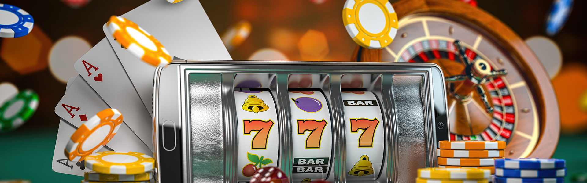 Casino chips, cards, dice, and slot machine representation