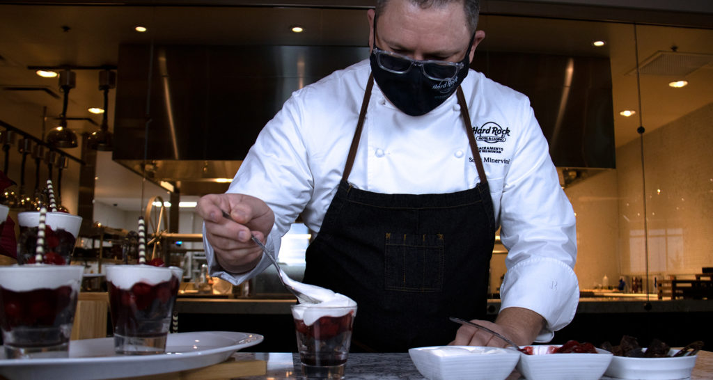 Chef Scott putting the final touches on his holiday dessert