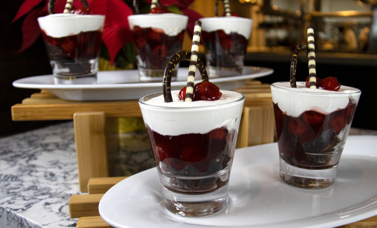 Drunken Holiday Black Forest Cake Parfaits by Chef Scott at Hard Rock Sacramento