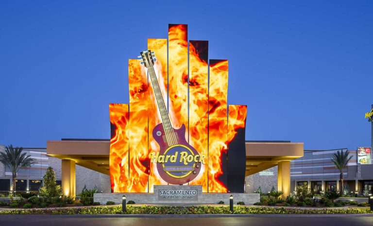 Exterior of Hard Rock Hotel & Casino Sacramento, casino entrance